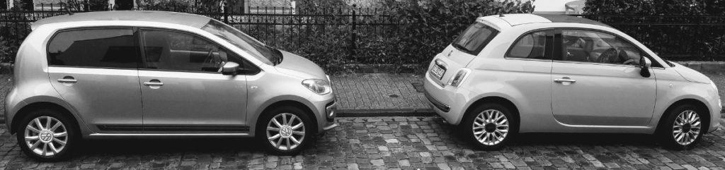 Ein viertüriger VW! im Vergleich zum kleineren Fiat 500